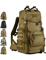 Exterior 60L Tactical backpack-verttee hombro Messager de senderismo Trekking Bolsa Militar–Mochila de viaje Negro, Wolf Brown