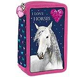XXL 3-fache Federtasche Kinder Federmappe Federmäppchen gefüllt mit 43-Teilen 20 x 13 x 7 I Love Horses mit Pferd