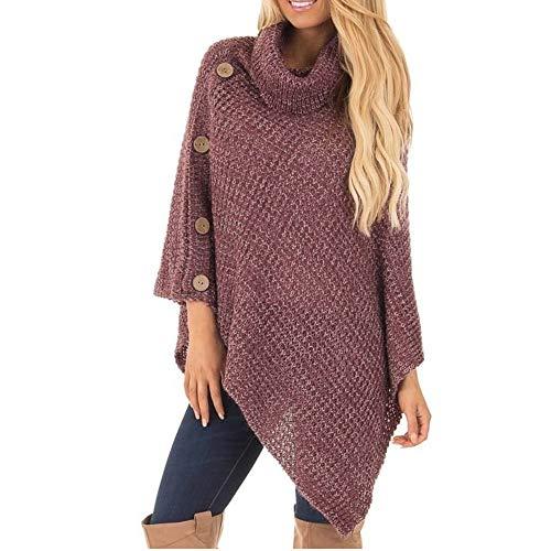 Damen Oberteile MYMYG Damen Strick Rollkragen Poncho mit Knopf Unregelmäßige Saum Pullover Pullover Herbst und Winter Sweatshirt(rot,EU:40/CN-XL)