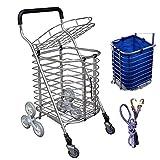 QINAIDI Faltender Einkaufslaufkatze mit 8 Rädern Leichter Treppen-Kletternder Warenkorb mit Entfernbarer Wasserdichter Tasche Für Wäscherei, Lebensmittelgeschäft und Markt