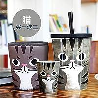 Syhao innovativi ad alta capacità tazze di ceramica ufficio con tubo coperchio bicchiere tazza da caffè latte Cup di Marco Cup , CAT (coppa di alimentazione Kit aspiratore di nero, tazze piccole)