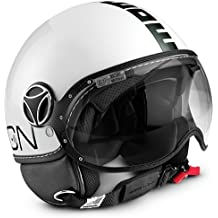 MOMO Design Casco Demi Jet Color Fighter Classic blanco brillante/Negro tg.M/