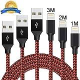 Cordking Lightning Kabel, 3 Pack 1M 2M 3M Nylon iPhone Ladekabel iPhone Kabel USB Datenkabel für iPhone XS/XS Max/X/8/8