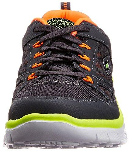 Skechers Flex Advantage, Chaussures de sports en salle garçon gris/orange (charcoal/orange)