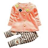 Chandal Para Niña K-youth® Chandal Bebé Unisex Lindo Flores Sudadera Tops y Pantalones para Niñas Niños (Rosa, 1-2 años)