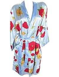 LingSang Mujer de Seda/satén de Kimono, Bata, con diseño de Flores,