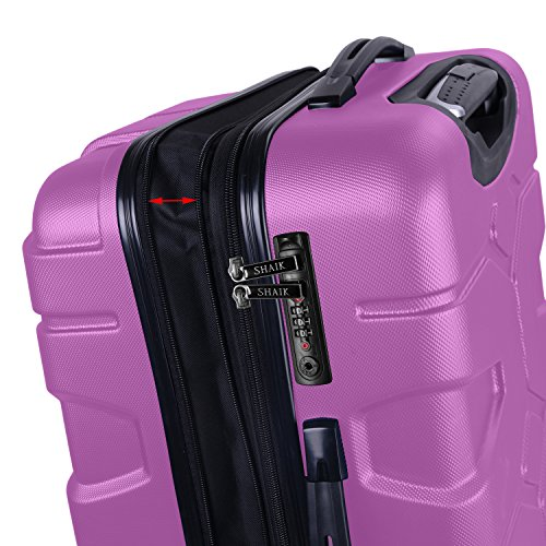 SHAIK® SERIE RAZZER SH002 3-tlg. DESIGN PMI Hartschalen Kofferset, Trolley, Koffer, Reisekoffer, 50/80/120 Liter, 4 Doppelrollen, 25% mehr Volumen durch Dehnfalte (Violett, Set) - 2