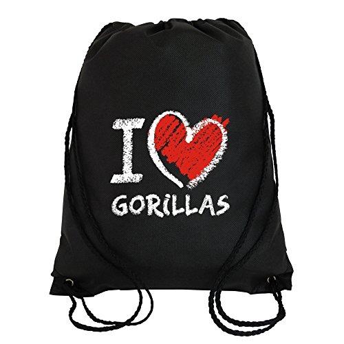 Idakoos I love Gorillas chalk style - Tiere - Turnbeutel - Gorilla Chalk Bag