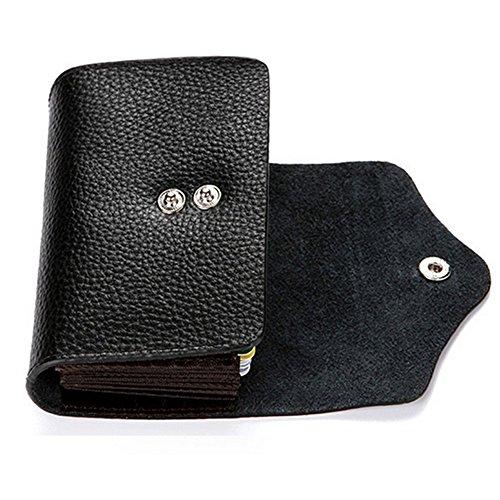 RFID-Karte Halter Leder RFID Geldbörse Schutz Credit Card Holder Tasche Handtasche Geldbörse Portemonnaie (Black) Grey