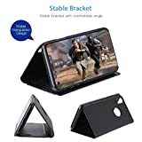 AURSEN-iPhone-X-Case-Mirror-View-Flip-Cover-PU-Leather-Magnetic-Protective-Cover-With-Kickstand-Phone-Case-for-iPhone-X-Case-Black