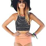 Bikini Maillot De Bain Sexy 2 Pièce Taille Haute Lolittas Rayure Imprimer Bra Deux Pièce Push-Up Tenue De Plage Gilet Sangles De Sexy Swimwear Pour Femme Swimsuit Bathing (Noir, L)