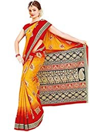 154ec2d4e44 Generic Authentic Traditional Cotton Saree - Golden Background with Red  Border and Multicolored Patterns