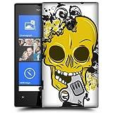 Etui de créateur pour Nokia Lumia 520 - Etui / Coque / Housse de protection blanc en Plastique Rigide (arrière rigide) avec motif crâne jaune