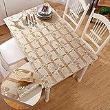 Grün PVC Weichglas Gold dick undurchsichtig rechteckige wasserdichte Tischdecke Verbrühungsschutz muss Nicht die Tischmatte zu reinigen@Gold E_80 * 140 cm