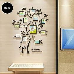 HYRL Autocollant Mural Acrylique 3D, Arbre Heureux Photos Cadres Photo Stickers Muraux pour Le Salon Chambre À Coucher TV Fond Mur Décor,I,S
