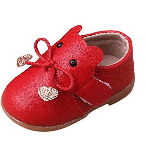 Zapatos De Bebé, K-youth® Bowknot Primeros zapatos para caminar La princesa del bebé Sola suave calza las zapatillas de deporte del niño Zapatos ocasionales (12-15 Mes, Rojo)