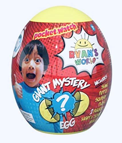 YB Ryan's World Riesige Mystery Eggs (Farbe kann variieren) Jungen Kinder Kleinkinder Squishy Figur Taschenuhr Knetei Ei (Bonus Dino-Zug)