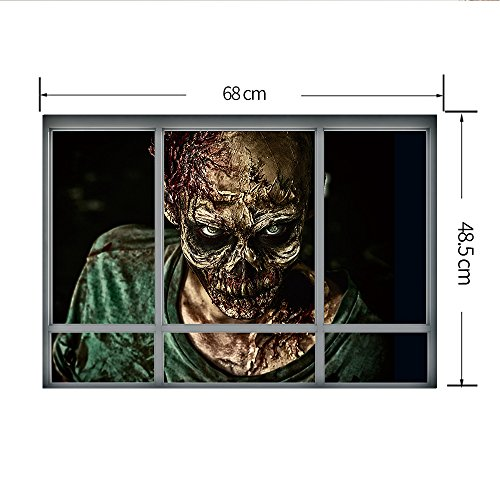 3D Aufkleber Halloween Scary Zombie Geist Fenster Szene Neuheit Wand PVC Aufkleber Halloween Eve Party Dekorationen (Kriechender (Szenen Halloween Scary)