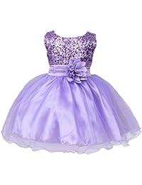 385b7b8de99 IWEMEK Petite Fille Fleur Robe de Princesse Paillettes Demoiselle d honneur  Enfants Robe de Anniversaire