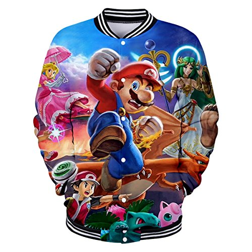 CTOOO 2018 Herren Damen 3D Druck Mario Sweatshirts Pullover Für Männer Tops Baseball-Uniform Schwarz XXS-XXXL