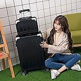 WANLN Mittelständische Koffer Leichte ABS Hartschalen Trolley-Koffer mit 4 Runden Stilvolle Koffer mit Kindern Box,Schwarz,26inches