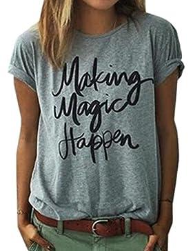 Juqilu Verano de La Camiseta de Las Mujeres de Manga Corta Making Magic Happen Blusa de Impresión Ladies Slogan...