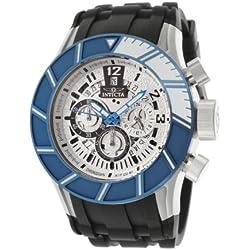 Invicta Men's 14025 Pro Diver Chronograph Silver Textured Dial Black Polyurethane Watch