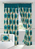 "Poppy Teal Lined Half Panama Curtains (Pair) 90"" x 90"" by Textiles Direct"