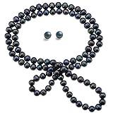Rolicia AA Grade 8-9mm 65Inches 165cm Süßwasser kultiviert schwarze Perle Halskette passenden Ohrstecker in Geschenkbox