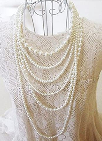 New Fashion Long 6 Row White Faux Pearls Necklace
