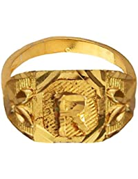 Mens Fashion Jewellery Antique Gold Gold Plated alphabate Fashion Ring