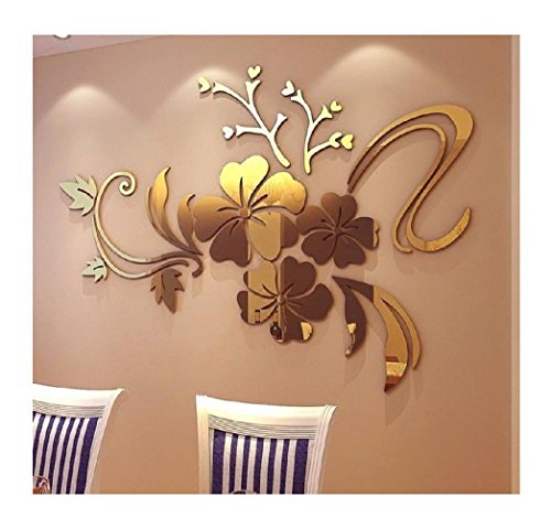 Gold : Ularma 3D Mirror Floral Art Removable Wall Sticker Acrylic Mural Decal Home Room Decor (Gold)