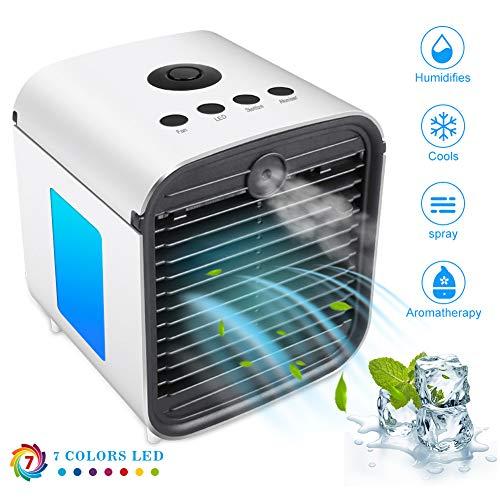 Mobile Klimaanlage Air Cooler, Mini Luftkühler Verdunstungsgerät Klimageräte Ventilator Luftbefeuchter Luftreiniger Aromatherapie 4 in 1 mit Nachtlicht & Ultraviolettes Licht für Office Home Camping -