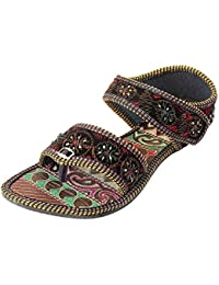Footrendz Swirl Of Beauty Embroidered Faux Leather Sandals