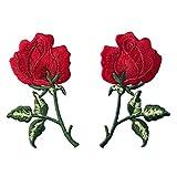 Toppa ricamata da applicare con ferro da stiro o cucitura, tema: Fiori retrò Rosa rossa