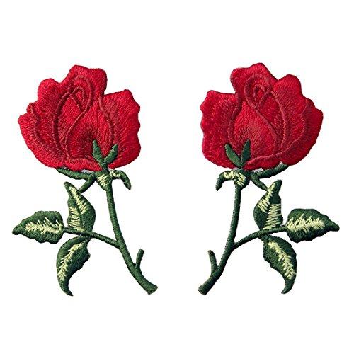Aufnäher, bestickt, Design: Retro Blumen Boho Rote Rose, zum Aufbügeln oder Aufnähen