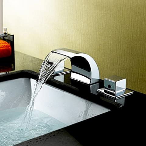 jiayoujia Victoria Cascada LED de 3Agujero 2asas baño de acero inoxidable grifo de lavabo grifo de la bañera