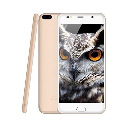 LEAGOO M7 3G Smartphone Ohne Vertrag 5.5 Zoll HD IPS 2.5D 5 Punkt Touch Display Android 7.0 Quad Core Dual SIM 1GB RAM+16GB ROM 8 MP+5 MP Hintere Kameras 5 MP Vordere Kamera 7.9 MM Dick Fingerabdrucksensor(Golden)