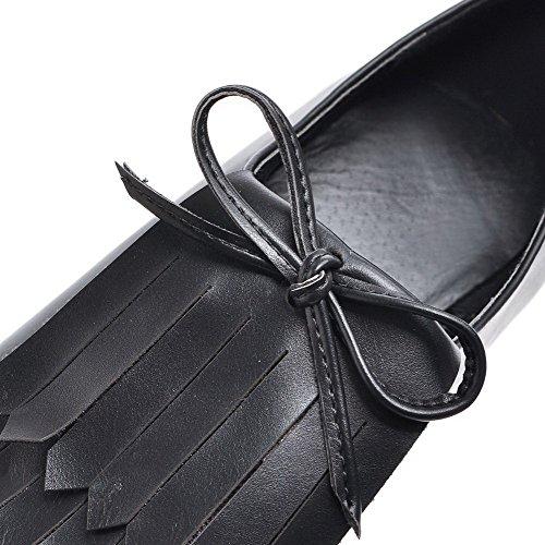 AllhqFashion Femme Couleur Unie à Talon Haut Tire Pointu Chaussures Légeres Noir