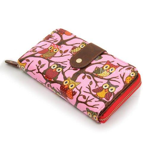 Miss Lilac , Damen Schultertasche Owl Fuchsia Pink - (2005#)