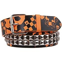 Cinturón de piel con diseño de calavera, estampado punk rock - Multi - 36-Medium/Large