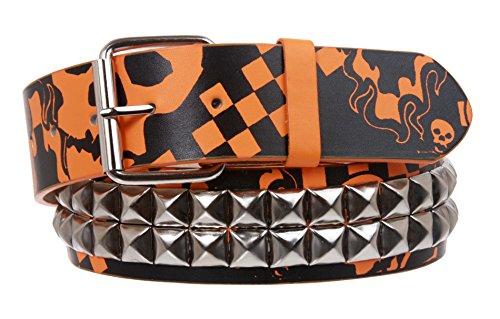 Cinturón de piel con diseño de calavera, estampado punk rock - Multi - Large/X-Large / 40