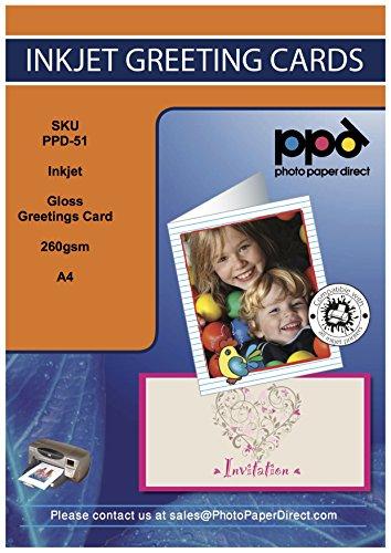 PPD DIN A4 Inkjet Blanko Faltkarte Grußkarte, glänzend incl. Umschlag, DIN A4 gefalzt auf DIN A5, 260g/m², 20 Karten PPD-51-ENV-20