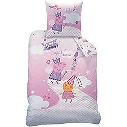 CTI Today 043729 Peppa Pig Fairytale - Juego de cama con funda de edredón de 140 x 200 cm y funda de almohada de 63 x 63 cm, algodón, diseño de Peppa Pig, color blanco