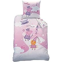 Today 043729 Peppa Pig Fairytale - Juego de cama con funda de edredón de 140 x 200 cm y funda de almohada de 63 x 63 cm, algodón, diseño de Peppa Pig, color blanco