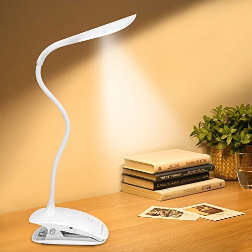 Tragbare LED-Leselampe mit flexiblen Schlangen Hals aus Enlightric® mit 3 Dimmer Versorgung 3-stufig verstellbare Helligkeit - Best biegsame Reisen Lampe Clips an Kopfteil zum Lesen in der Nacht und Augen-freundlich - Verwenden Sie für Bücher, Kindle, Nook, Karten, Rezepte, Handwerk - großartig für Kinder/ Kinderzimmer - USB-Akku - Beleuchten Sie nachts lesen [Energieklasse A++]