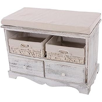 Sitzbank Kommode mit 2 Körben 42x62x33cm, Shabby-Look, Vintage ~ weiß