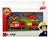 DICKIE Toys 203099630401 - Feuerwehrmann Sam Fahrzeugset, 4-teilig, Miniaturfahrzeuge, Die-Cast Metall, Jupiter, Wallaby, Venus, Mercury Test