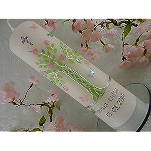 Taufkerze Lebensbaum grün rosa s
