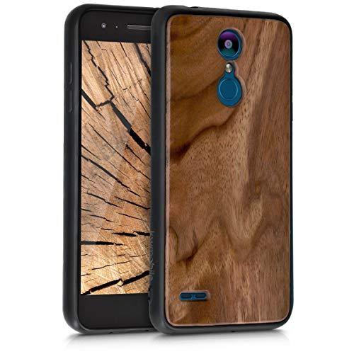 kwmobile Holz Schutzhülle für LG K8 (2018) / K9 - Hardcase Hülle mit TPU Bumper Walnussholz in Dunkelbraun - Handy Case Cover